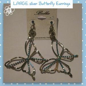 Large silver Butterfly Earrings NWT!